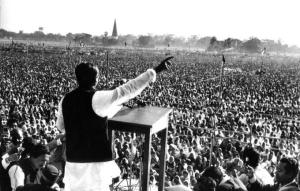 Mujibur Rahman declaring Bangladesh as a new independant nation.